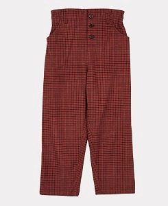 카라멜 VULTURE TROUSERS-BURGUNDY CHECK