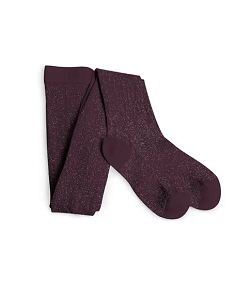 [COLLEGIEN] Amélie Glittery Ribbed Tights - Aubergine(6990 886)