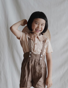 Pleated collar shirt (apricot)