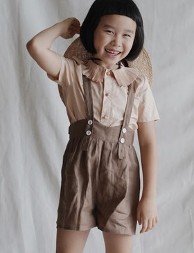 suspender shorts (brown)