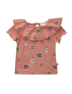 [OEUF] ruffle neck tee shirt (punch pink)