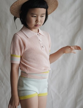 [MES KIDS DES FLEREUS] striped polo shirt (pink)