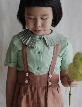 [MES KIDS DES FLEREUS] Pleated collar shirt (green)