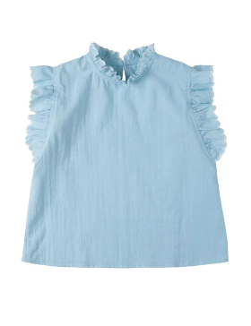 [Kidsagogo] Lulu top (Dusky blue white trim)