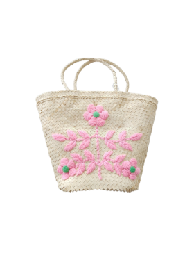 [Kidsagogo] Embroidered Basket (fuchsia / green)